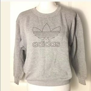 Vtg Adidas Gray Trefoil Logo Sweatshirt